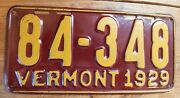1929 Vermont License Plate - 84 - 348 - Very Hi Quality - Bright Color Tag ...