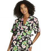 New Womanand039s Who What Wear 80and039s Floral Tie Front Blouse 2x S.