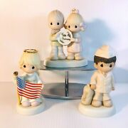 Vtg Precious Moments Figurines Happy Anniversary, Army And America Forever 9/11