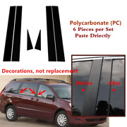 6pc Set Pillar Post Door Trim Glossy Black Cover Fit For Toyota Sienna 2004-2010