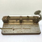 Vintage Antique Wilson Jones 308 Improved Hummer 3 Hole Punch And Bottom Tray Usa