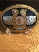 Vtg Johnson Held Dual Cobra Snakes Wings Turquoise Coral Inlay Belt Buckle