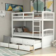 Modern 1pc Twin Bunk Trundle Bed Storage Drawers Wooden Bedroom Furniture White