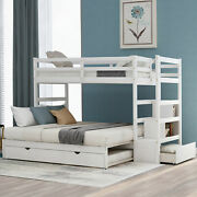 Modern 1pc Twin Over Twin/king Bunk Trundle Bed Storage Bedroom Furniture White
