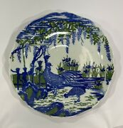Antique Chinese Imari Rooster Blue And White Export Bowl Plate 19th Century