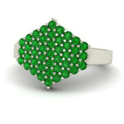 0.86 Ct Real Emerald Gemstone Engagement Ring Solid 950 Platinum Band Size 6 7 8
