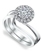 0.55 Ct Real Diamond Engagement Ring 14k White Gold Round Cut Size 7 6 5 4