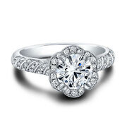 Sale 0.92ct Real Diamond Engagement Wedding Ring 14k Solid White Gold Band Set