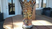 Northwood Carnival Glass Tree Trunk Elephant Foot Funeral Vase Repaired