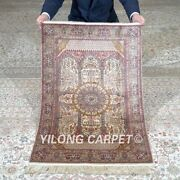 Yilong 2and039x3and039 500lines Handmade Silk Tapestry Home Decor Exquisite Rug Mc559h