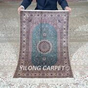 Yilong 2and039x3and039 500lines Handknotted Silk Blue Rug High Density Tapestry Mc558h