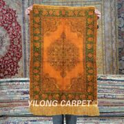 Yilong 2and039x3and039 500lines Handknotted Silk Tapestry Gold Antique Vintage Rug Mc548h
