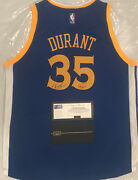Kevin Durant Signed Warriors Blue Gsw Inscribed Jersey Panini Le /135