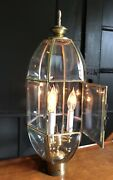 Vintage Solid Brass Outdoor Pole 3 Light 18 Beveled Glass Panel Lamp Post