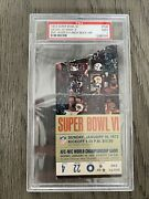 1972 Super Bowl Vi Dallas Vs Miami Psa 2 Graded Ticket Stub - Very Rare