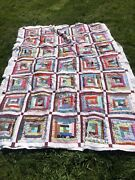 Unfinished Quilt Cutter Multicolor On White Vintage 1970s 90 X 65