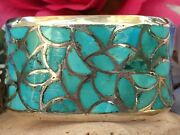 1960s Old Pawn Native American Zuni Fish Scale Turquoise Sterling Cuff Bracelet