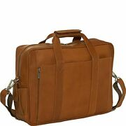 Piel Leather Computer Briefcase Saddle One Size