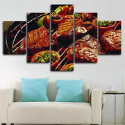 Barbecue Bbq Grill Restaurant 5 Panel Canvas Print Wall Art Poster Home Decor