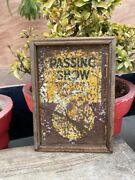 Old Rare Original Passing Show Cigarettes Tin Sign Board Framed Adv Collectible