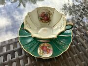 Vintage Lefton China Teacup/saucer Hand Painted Cup Green 1