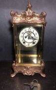 Louis Xv Style Gilt Brass Glass Mantle Clock / Working / New Haven Clock Co.