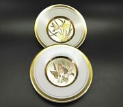 2x The Art Of Chokin Collectors Plates Etched 24k Gold Edged Flowers And Birds