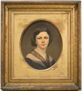 Antique Oil Painting Portrait Of Victorian Woman In Mourning Dress Signed, 1863