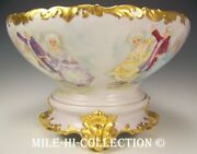 Limoges Hand Painted Dancing Scene Grapevines Gold 14 Punch Bowl On Base-stand
