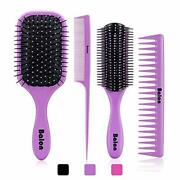 4pcs Hair Brushes For Women Comb Women And Detangling Paddle Purple