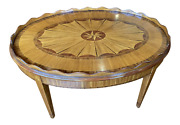 20th Century Oval Coffee Table With Scalloped Edge And Parquetry Inlay