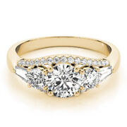 1.40 Ct Real Diamond Engagement Rings 14k Solid Yellow Gold Ring Size 5.5 7 6