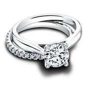 1.12 Ct Vs1 Real Diamond Engagement Wedding Rings 14k Solid White Gold Size 6 7