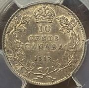 Canada George V 10 Cents 1913 Broad Leaves Pcgs Au55