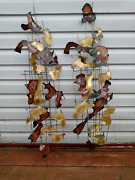 Pair Of Vintage Mixed Metal Brutalist Wall Sculptures In The Style Of C. Jere