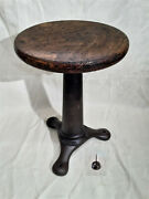 Vintage Singer Sewing Machine Industrial Iron Stool With Adjustable Wood Seat