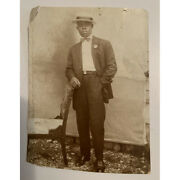 Vintaged Post Card Gentleman Standing By A Chair