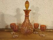 Imperial Grape Style Marigold Carnival Glass Decanter And 4-3 3/4 Cordial Cups
