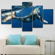 Humpback Whale Underwater 5 Panel Canvas Print Wall Art Poster Home Decoration