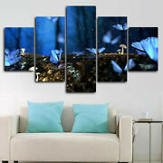 Glowing Blue Butterflies In Forest 5 Panel Canvas Print Wall Art Home Decoration