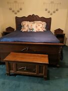 Vintage 1980and039s Solid Wood Bedroom Set - Mexico - Heavy And Solid 8 Pieces See