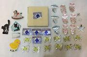 32 Foil Stickers Vintage Antique Lick And Stick Baby Rattle Toys Rocking Horse