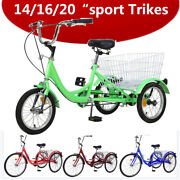 14/16/20andrdquo Trikes For Sport Tricycle 3 Wheel Bikes Cruiser Bicycle W/rear Basket