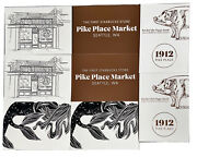 Starbucks Seattle Pike Place Postcard 8 Card Siren Mermaid Tail Store Front Pig