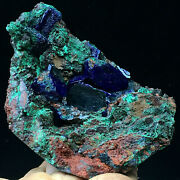 425.5g Large Flake Grain Azurite And Malachite Crystal Cluster Mineral Specimen