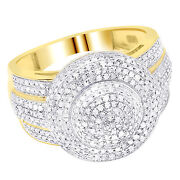 Ladies Menand039s 10k Yellow Gold Real Diamond Puff Pillow Pinky Ring 0.92 Ct 15mm