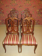 Ethan Allen Country French Splatback Bordeaux Set Of 6 Chairs 6202