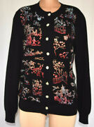 Libertine Black Cashmere Crystal Beaded Front Glass Buttons Cardigan Size L