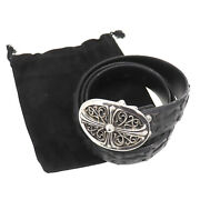 Chrome Hearts Cross Used Belt Black Silver 1989/00 Sterling Vintage Auth Ba70 O