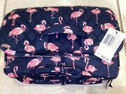 New Vera Bradley Travel Tag Cosmetic Carry Case Tote Flamingo Makeup Pill Box